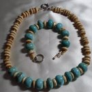 Turquoise and Bone Bead Necklace & Bracelet Set  - DZbb