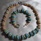 Turquoise and Bone Bead Necklace & Bracelet Set  - DZbb
