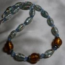 Gold and Blue Lampwork Necklace  - DZgb