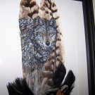 Wolf Framed Feather Art - OWwo