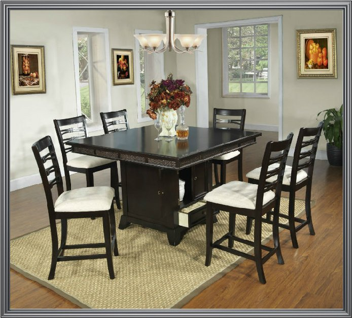 Pc Modern Espresso Dining Room Table Chairs Set TBQD886