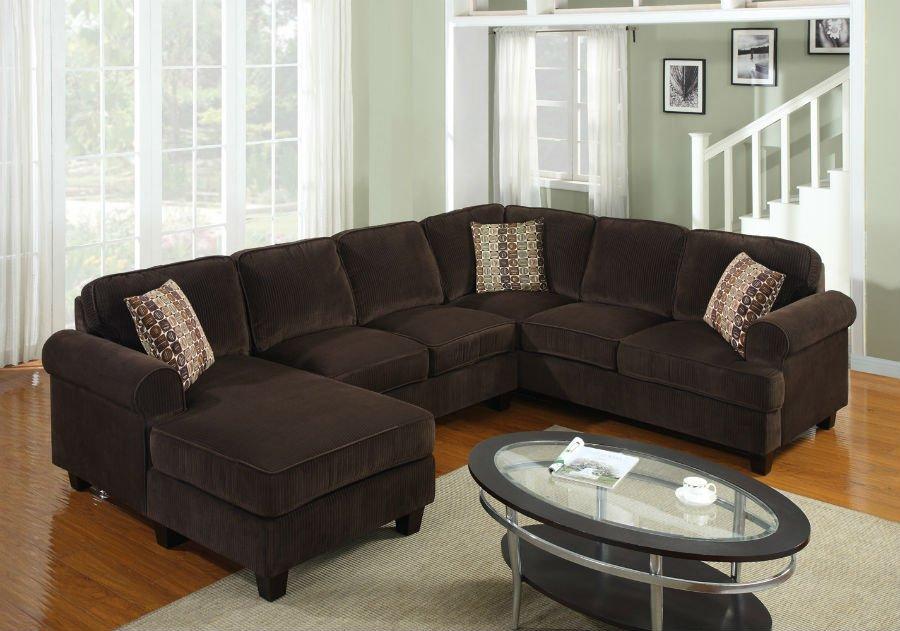 Pc modern brown corduroy sectional sofa living room set tbqs727p3