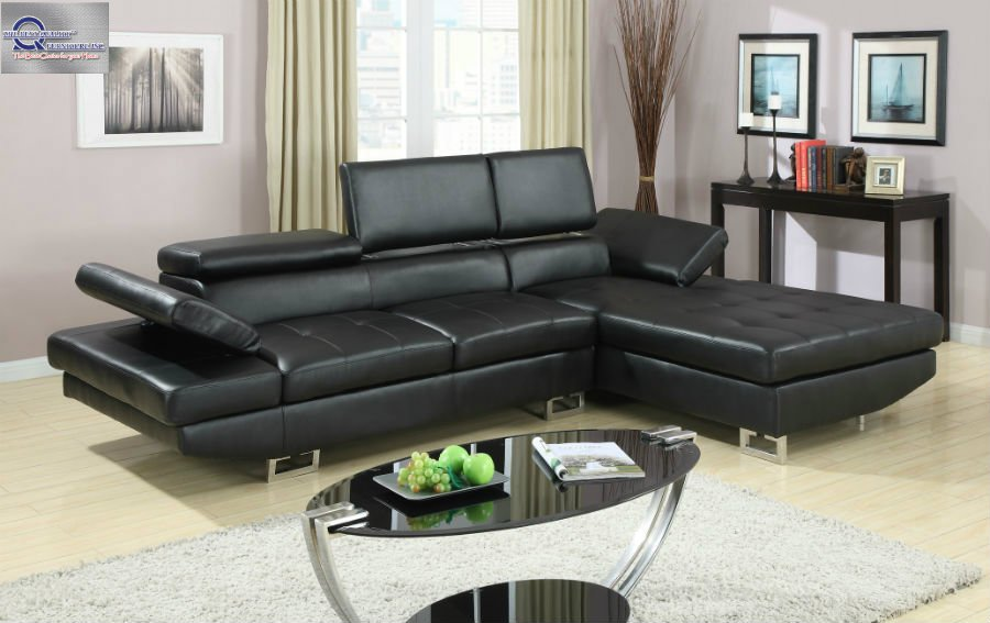 2 Pc Modern Black Bonded Leather Sectional Sofa Living Room Set Tbqs729p1