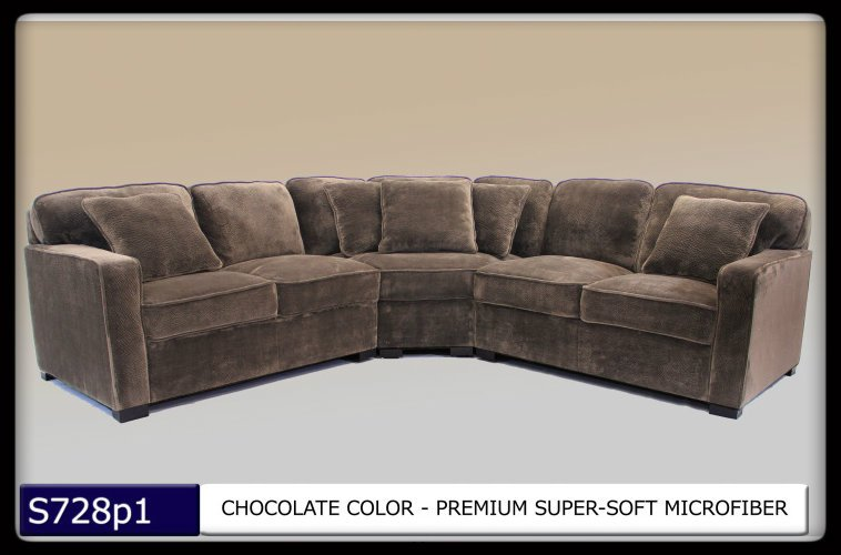 3 Pc Modern Chocolate Microfiber Sectional Sofa Set Living Room Set Tbqs728p1