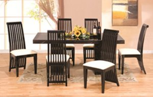 Captivating 7 Pcs Modern Italian Marble W Black Lacquer Dining Room Set ZBM2921RECT