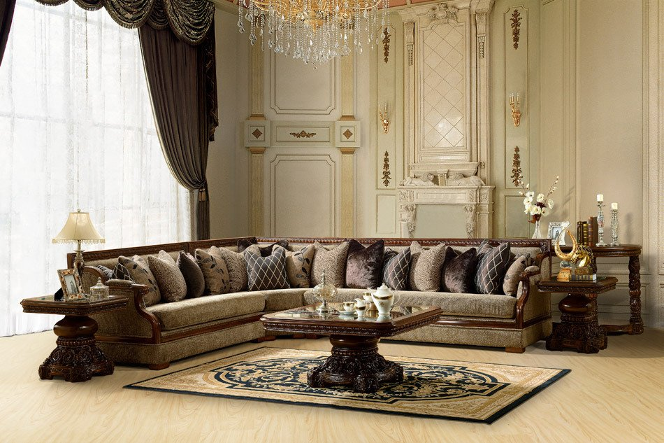 Formal Luxury Sectional Sofa Traditional Living Room Set Zhd461