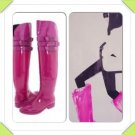 SALE! New Bright Fuchsia Pink Calvin Klein Over The Knee OTK 3 Buckle Rain Boot Size 8 Medium
