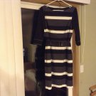 SALE!New Kay Unger New York Black, Gray & White Belted Dress Size 8 retail $290 in Stores Now