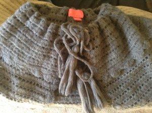 Betsey Johnson Dark Gray Knit Cape With Large Tasseled Ties & Logo Clip