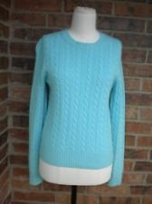 J.Crew Wool Blend Turquoise Blue Cabled Crew Neck Sweater Size Medium