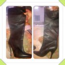 Genuine Black Calfskin Leather Guess Designer Convertible Knee / Mid- Calf High Heeled Boots Size 9B