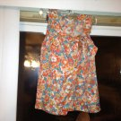 J.Crew Sleeveless Silk Bright Floral Wrap Blouse That Ties At Neck Size XS