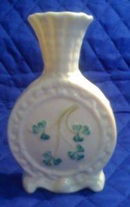 Vintage Belleek Spill Vase With Shamrocks