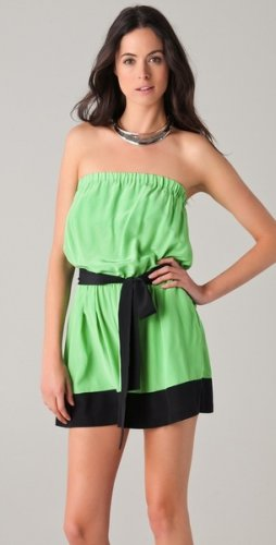 NWT! Robert Rodriquez Green & Black Strapless Silk Romper Size 10  MSRP $325