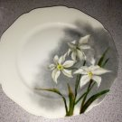 H & C Limoges Daffodil Plate in Gray, White, Yellow & Dark Green Mint