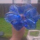 Signed 2007 Art Glass Blue Swirl & Rib Long Stem Horizontal Cosmos Vase