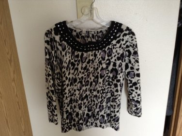 SALE Nordstrom's Semantiks Merino Wool Leopard Print Sweater With Rhinestones & Sequins P/L