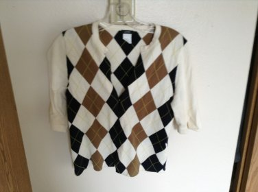 J.Crew Navy, Camel & Ivory Argyle Cardigan With Hook & Eye Closures Size S