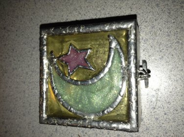 """Darling Hand Crafted Hinged """"Wish Box"""" With Star Feet & Moonlit Sky Motif"""