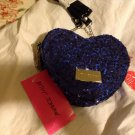 New Betsey Johnson Sequin Cluster Heart Cross Body in Cobalt