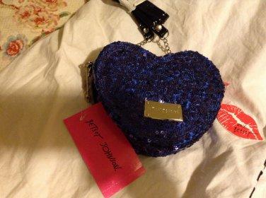 New Betsey Johnson Sequin Cluster Heart Cross Body in Cobalt
