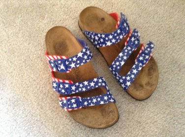 SALE Sold Out Everywhere! HERS US Flag BIRKENSTOCKS  Ladies 7