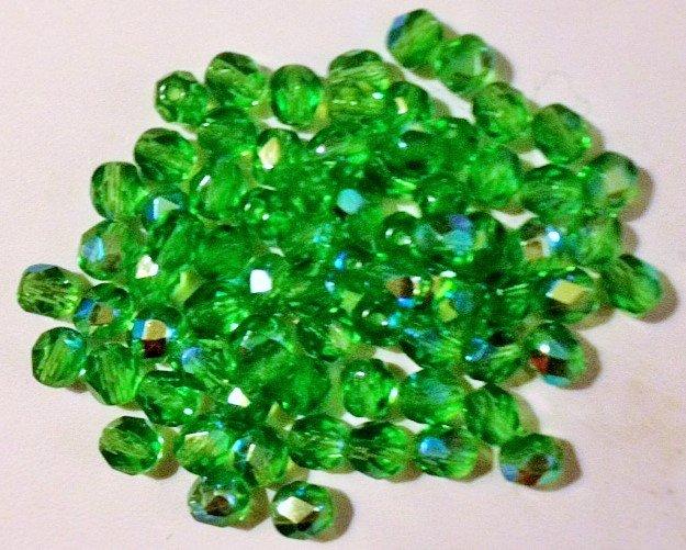 Czech Lt Emerald AB FirePolish Crystal Beads 6mm 50pc
