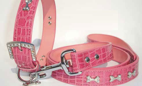 PINK Speckle Bling Leashe and  Collar Set ~S~