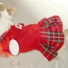 Red Plaid Dog Dress ~XXS~ Free Shipping!