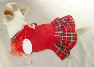 Red Plaid Dog Dress ~XXS~ Free Shipping!