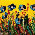 BLUE POPPIES  original oil painting MODERN ABSTRACT CANVAS 456u6