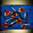 FLOWERS ON BLUE  ART original oil painting MODERN ABSTRACT t456u4