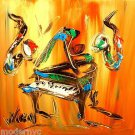 JAZZ BAND  original oil painting MODERN ABSTRACT CANVAS DFGND567i