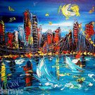 CITYSCAPE AMERICA  original oil painting MODERN ABSTRACT CANVAS QWEFQG