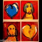 DOGS HEARTS ART original oil painting MODERN ABSTRACT CONTEMPORARY -  SDFB