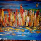CITYSCAPE  ART original oil painting MODERN ABSTRACT CANVAS S56U456WERGR
