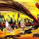 EORIGINAL OIL PAINTING SIGNED  MODERN CANADIAN ARTIST LARGE - RED GREEN TWERWE