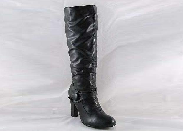 LADIES BLACK KNEE HIGH BUTTON FASHION BOOTS