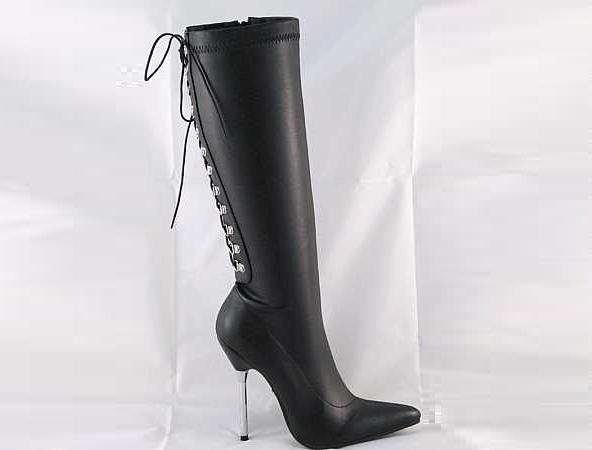 LADIES HIGH HEEL LACE UP KNEE LENGTH BOOTS MATT BLACK