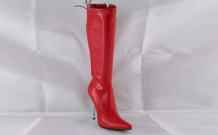 LADIES HIGH HEEL LACE UP KNEE LENGTH BOOTS RED