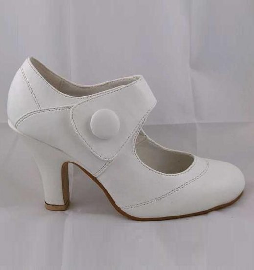 LADIES CLASSIC MEDIUM HEEL VELCRO SECURE FASHION COURT SHOES WHITE