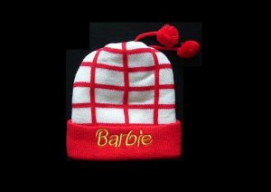 BARBIE STYLISH WINTER WARM HAT WITH TWO POM POMS RED