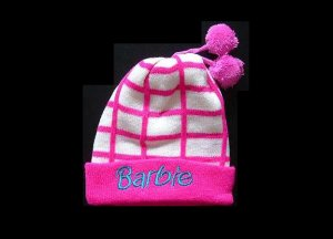 BARBIE STYLISH WINTER WARM HAT WITH TWO POM POMS STRAWBERRY
