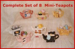 Complete Set of 8 Mini-Teapots Time Out for Tea  Premiums From Canadian Red Rose Tea