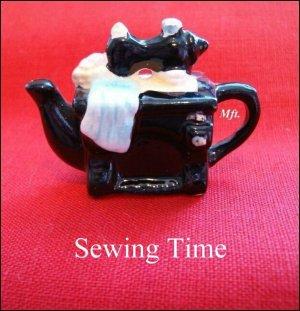 Red Rose Canadian  Tea Premium Mini-Teapot Sewing Time
