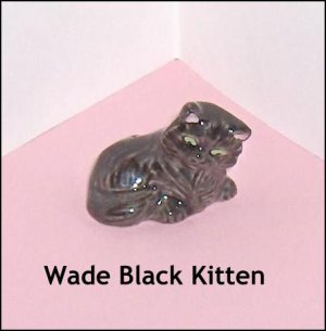 Wade Porcelain Black Cat Figurine With Green Eyes and Pink Ear Lining
