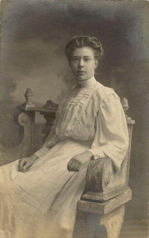 Vintage Black and White Postcard  Lady in Vintage Clothing