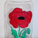 "Hand Painted ""Red Poppy"" Clear Glass Vase"