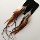 Down To Earth Long Grizzly Feather Earrings Handmade