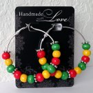 "RASTA VIBRATIONS JAMAICAN 2"" Silver Wood Bead Hoop Earrings Handmade"